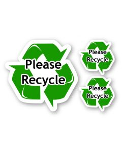 Please Recycle Green Vinyl Window Decal Sticker